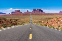 View from US Route 163 to Monument Valley Navajo Tribal Park on the Utah/Arizona border, USA.