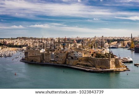 View from Valletta Upper Barrakka Gardens. Birgu or Vittoriosa (one of the Three Cities at the Grand Harbour, opposite Malta's capital city) dominates the picture. (AAA_4360)