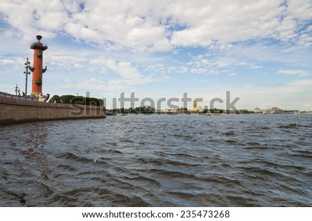 View from Vasilevsky Island at Peter and Paul Fortress, Saint-Petersburg, Russia