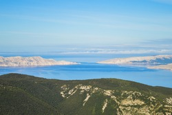 View from Velebit mountain on Adriatic sea, Krk and Prvic island