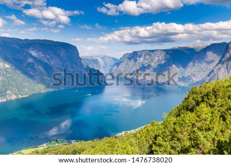 View from viewpoint Stegastein on Aurlandsfjord in Aurland along the National Scenic route Aurlandsfjellet between Aurland and Laerdal in Norway