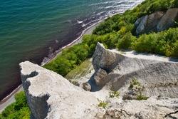 View from Viktoriasicht chalk cliffs on the Island Ruegen at baltic sea
