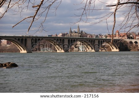 View from Virginia side of the Potomac to Key Bridge and Georgetown