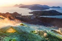 View from Vulcano island to Aeolian islands at sunset.  Lipari archipelago, Sicily, Italy