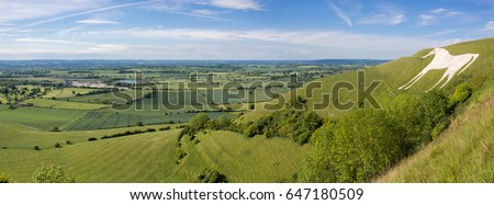 View from Westbury White Horse. Hill figure created by exposing white chalk on the escarpment of Salisbury Plain in Wiltshire, UK Stock photo ©