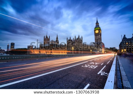View from Westminster Bridge to the Parliament Building and the Big Benn Clock Tower