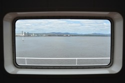 view from window of Levis from boat in Quebec Canada