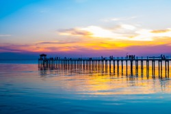 View  Gulf of Thailand  bridge Twilight
