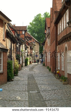 view in an old german town, lueneburg Stock foto ©