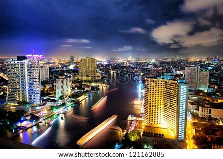 view in bangkok city at night