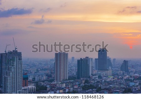 view in bangkok city at the sunset