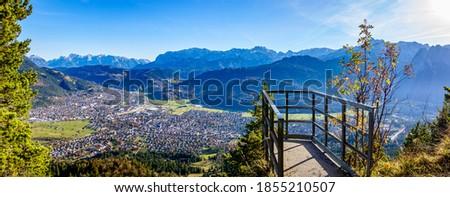 view in Garmisch-Partenkirchen - Kramer Mountain and Felsen-Kanzel - bavaria Stock fotó ©