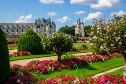 View in the amazing castle garden in France, Le Château de Chenonceau