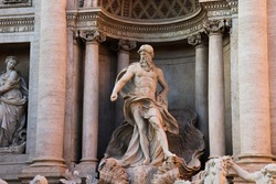 View in the Statue of the wonderful Trevi Fountain, Rome Italy