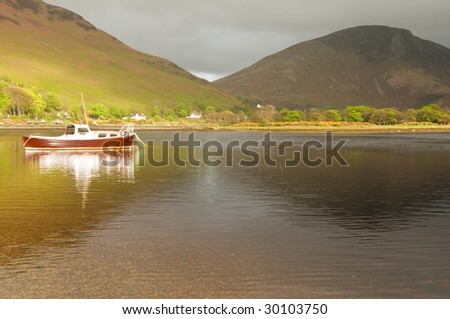 View in to Lochranza of boat on Loch
