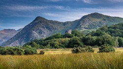 View including Dolbadarn Castle, Llanberis