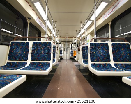 view inside a empty subway train car stock photo 23521180 shutterstock. Black Bedroom Furniture Sets. Home Design Ideas