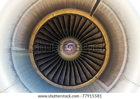 view inside a large high power jet engine - stock photo