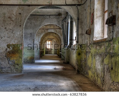 View inside an abandoned prison