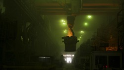 View inside of metallurgical shop with grean glow and big vat with molten steel inside, heavy industry concept. Scene. Hot steel vat at the metallurgical plant being transported.