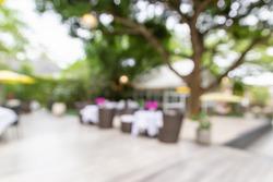 View inside restaurant in garden,blurred