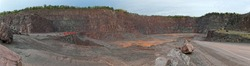 View into a quarry mine for porphyry rocks. factory. made of 5 separate images.