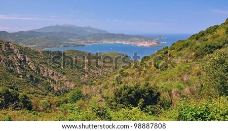 View into the Bay of Portoferraio on Elba Island, Tuscany,Italy - stock photo