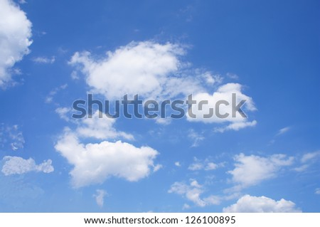 View into the blue sky with white clouds/Blue sky and white clouds