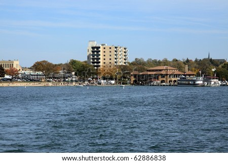 View lake Geneva in the fall, Wisconsin - stock photo