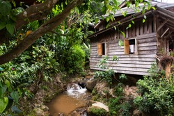 View landscape and creek of Mae Kampong Waterfall on Doi Mon Lan in Baan Mae Kampong peaceful Village valley hill for thai people and foreign travelers travel visit at Mae on in Chiang Mai, Thailand