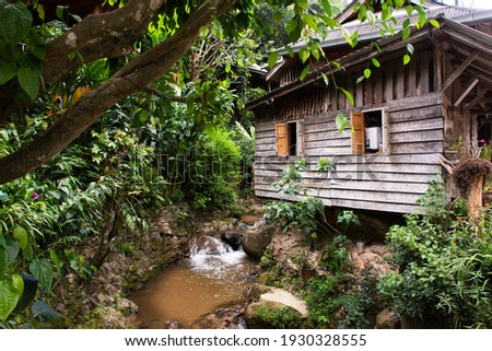 View landscape and creek of Mae Kampong Waterfall on Doi Mon Lan in Baan Mae Kampong peaceful Village valley hill for thai people and foreign travelers travel visit at Mae on in Chiang Mai, Thailand Foto stock ©