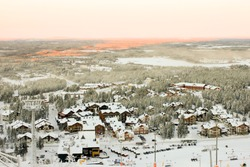 View Levi Ski Resort in the Kittila, commune in the western part of Lappei province, Sirkka, Finland