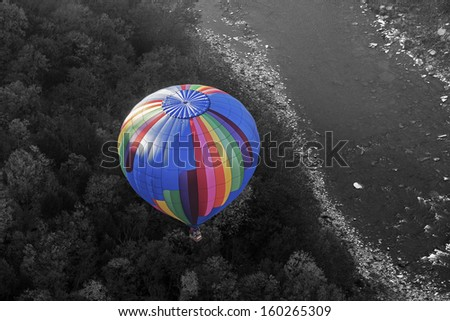 View Looking Down On A Hot Air Balloon While Riding Above In Another Balloon At Letchworth State Park