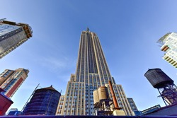 View looking up of the Empire State Building in New York City.