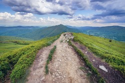 View near Winnie the Pooh Hut mountain cabin on the Wetlina hiking trail in Bieszczady National Park, Subcarpathian Voivodeship of Poland
