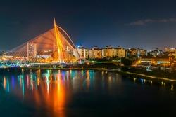 View night scenery at Putrajaya, lake and Seri Wawasan Bridge, Malaysia.