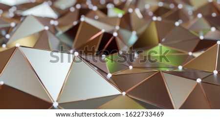 View of a Abstract connection structure with connecting dots and lines - 3d rendering