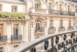 View of a balcony on Parisian building