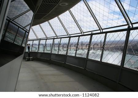 View of a balcony overlooking Niagara Falls, Canada at the Skylon Tower.