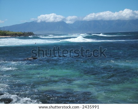 View of a bay at Paia town, the surf capital of the world on Maui
