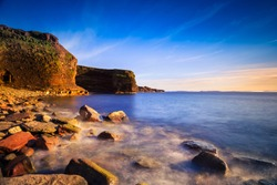 View of a beach at Bell Island, Newfoundland, Canada during sunset