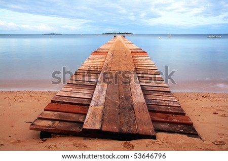 View of a beach at New Caledonia - stock photo