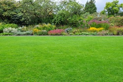 View of a Beautiful English Style Landscape Garden with a Lush Green Mowed Lawn and Colourful Flower Bed in Bloom