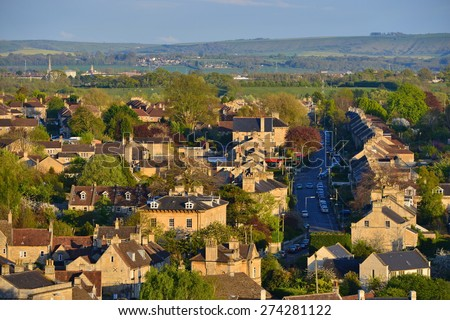 View of a Beautiful English Town Bathed in Warm Evening Sunlight Seen from a High Vantage Point - Namely the Historic Town of Bradford on Avon in Wiltshire England