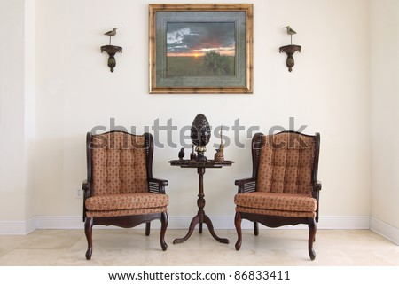 View of a beautiful formal classic sitting room