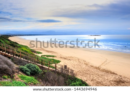 View of a beautiful misty sea from a view point on a beach in Mossel Bay, Mossel Bay, South Africa