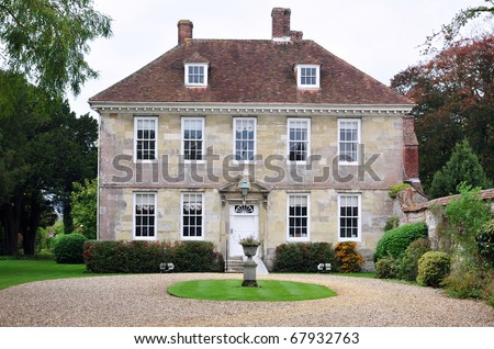 View of a Beautiful Old English Mansion House and Garden Grounds Built Circa 1730