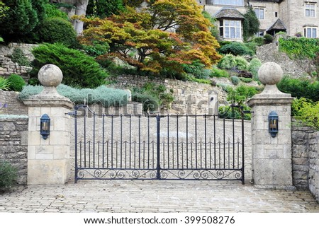 View Of A Beautiful Old Ornate Gate An English Country Estate 399508276