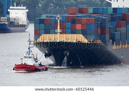 view of a big container ship in a harbor 2v