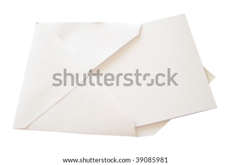 View of a blank note card in a white envelope isolated on white